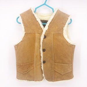 Vintage Children's Sherpa Brown Leather Vest